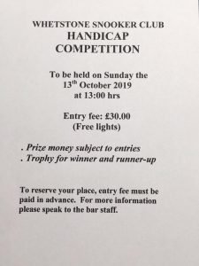 Whetstone Snooker Club Handicap Competition
