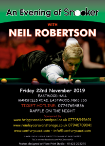 Neil Robertson at Eastwood Hall, Mansfield