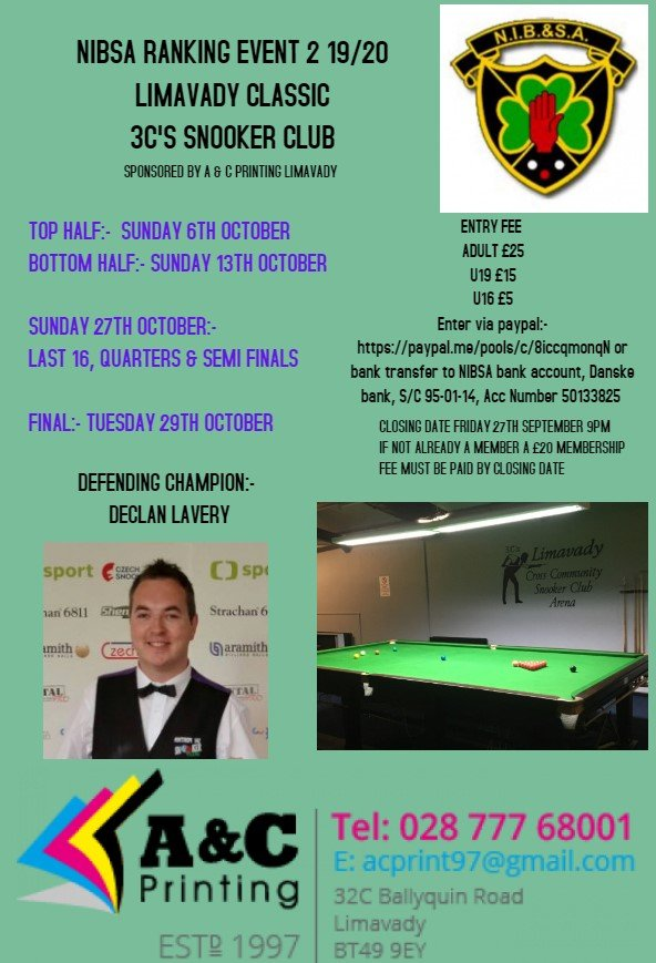 Ranking Event 2 - Limavady Classic
