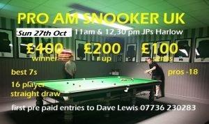 Snooker Pro-Am at JP's, Harlow