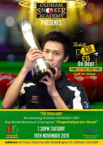 Thepchaiya Un-nooh at Oldham Snooker Academy