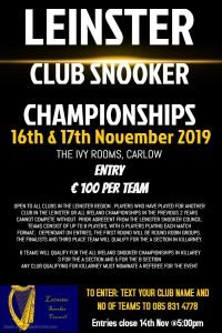 Poster describing the Leinster Club Snooker Championships 2019